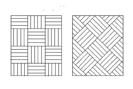 Esempio di posa del parquet a mosaico o a quadri