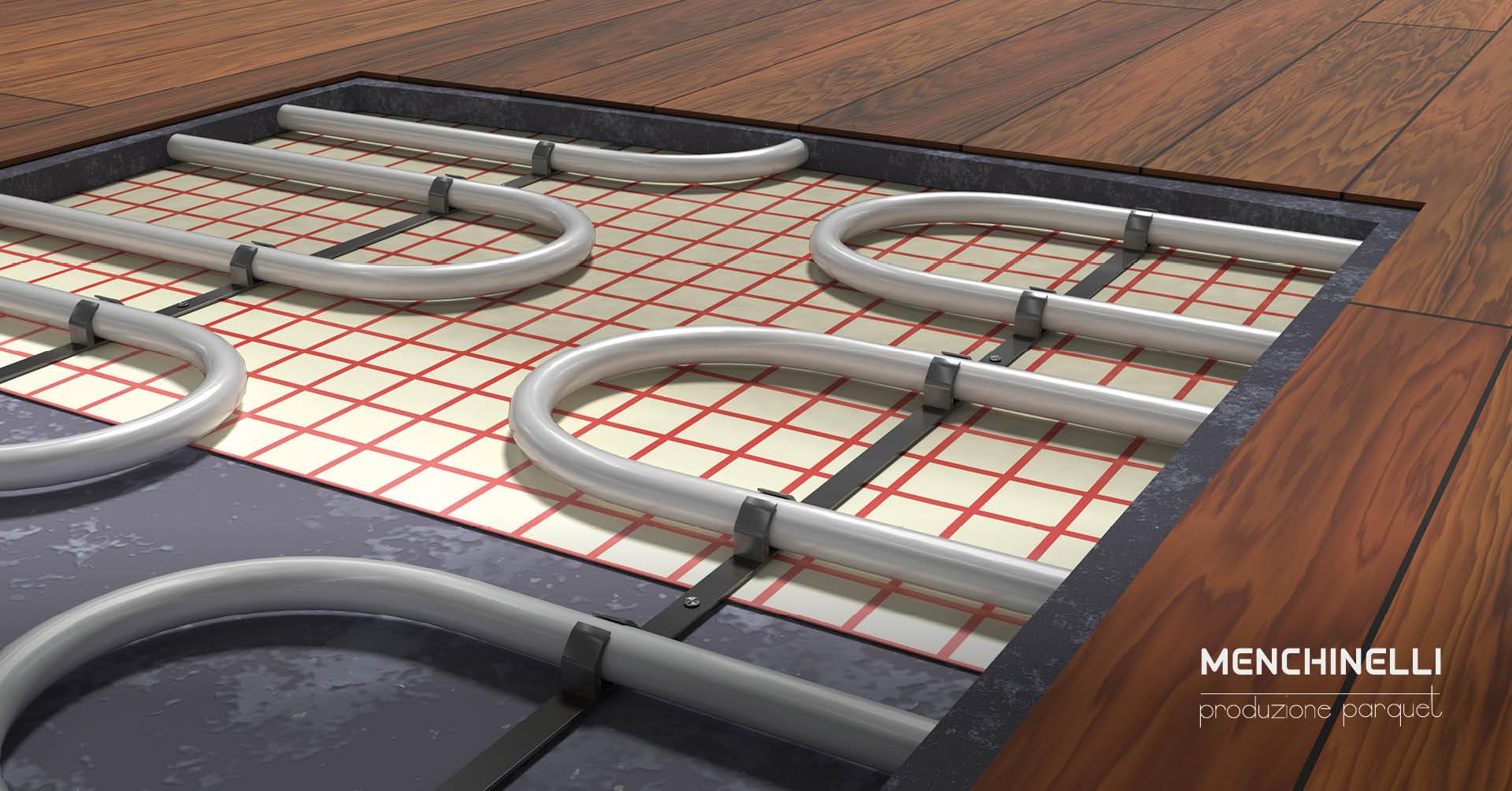 impianto di riscaldamento a pavimento con parquet